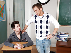 Teacher is sitting at his desk looking so good www his first gay sex com at Teach Twinks