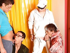 Gay group action and group sex gay fetish at Crazy Party Boys