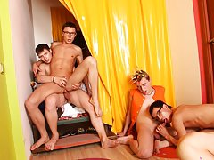 Free gay group sex videos and lucky guy group sex at Crazy Party Boys