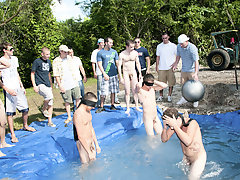 these substandard pledges had to play blind folded in this pri in the ground filled with pee nude gay male groups
