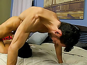 Close up young gay anal and...